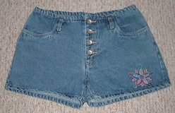 women denim shorts no excuses size 9/10 juniors 9 10 * 4 button fly waist in Morris, Illinois