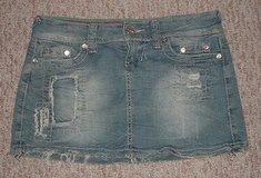 ynq patched fringed distressed denim jean mini skirt womens size 1 juniors in Plainfield, Illinois
